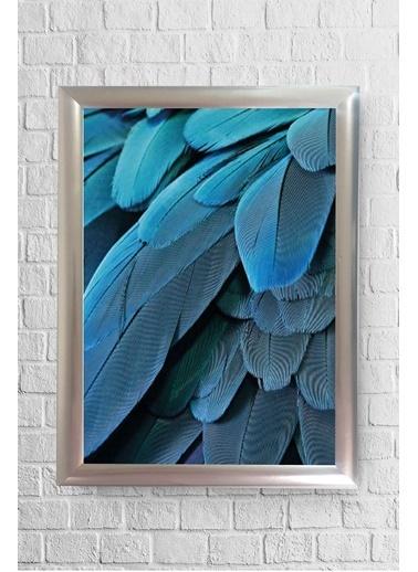 Lyn Home & Decor Mavi Tüy Desen Çerçeveli Poster Tablo 23.5X33,5 Gümüş